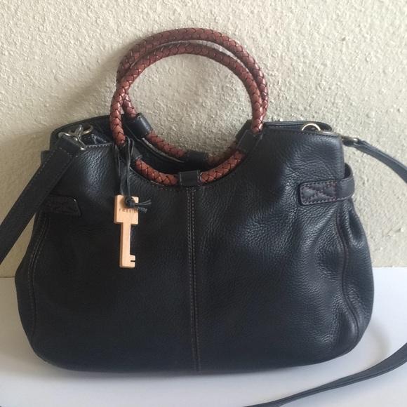 Fossil Handbags - Rare Vintage fossil Pebble Leather Ring Handbag